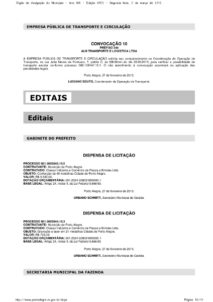 Page in Porto Alegre's gazette with bidding exemptions